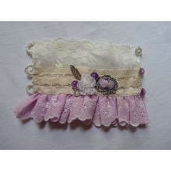 Manchette style victorien - broderies anglaises rose et blanche/dentelles fleuries ivoire