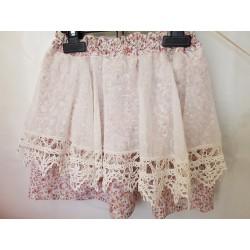 Jupe coton liberty blanc/rose/vert dentelle ancienne