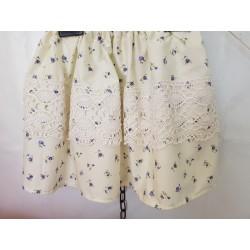 Jupe coton liberty ivoire/violet/vert dentelle ancienne