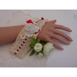 Manchette thème cœur – jute, dentelles et jersey ivoire
